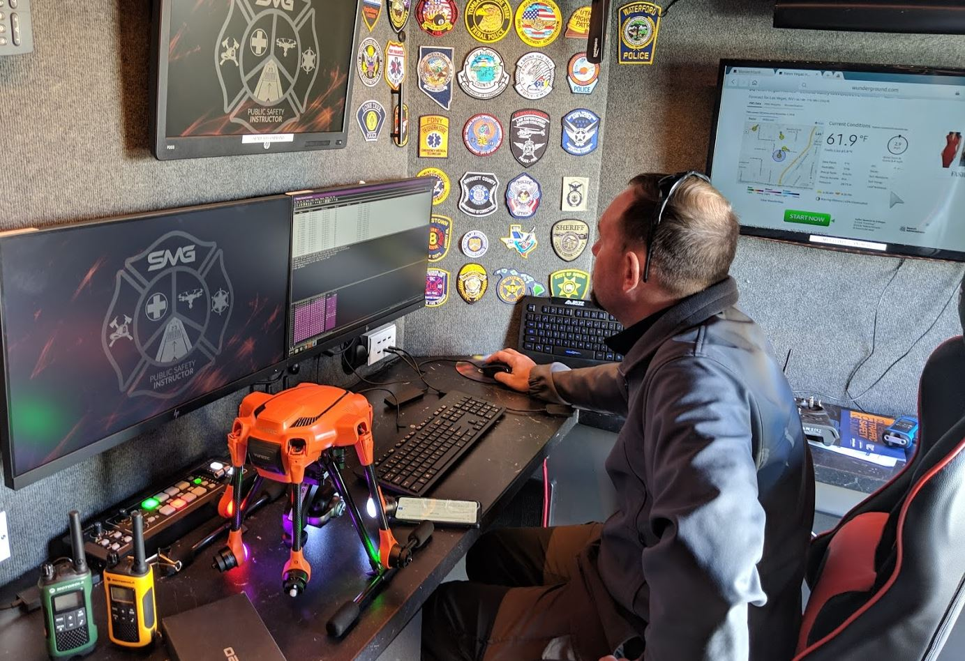 Hardware and software are controlled inside our self-contained aerial vehicle operations center.